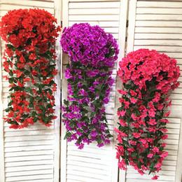 cesta de buquê de flores artificiais Desconto Gillyflower artificial flower cane wall pendurado casamento flores falsas buquês de noiva decoração vaso de flores de jardim com cesta de bambu