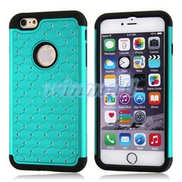 Wholesale Iphone Case Bling Starry - Bling Diamond Starry Hybrid 2 in 1 Hard PC + Soft Rubber Shockproof Rhinestone Phone Case Cover For Iphone 6   Iphone 6 Plus   iphone 5