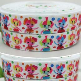 """Wholesale Grosgrain Ribbon Lalaloopsy - 7 8"""" 22mm Cartoon Coloful Dots Lalaloopsy Printed Grosgrain Ribbon Bows Diy Materials Craft Decos Sewing 50 100Yards A2-22-104"""