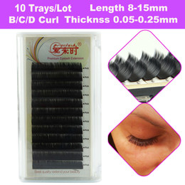 Wholesale Silk Eyelashes Extensions - 10 Trays Lot Eyelash Extension All Sizes 3D Individual Lashes For Female, Soft and Natural Black Korea Silk Mink Lashes False Eyelashes