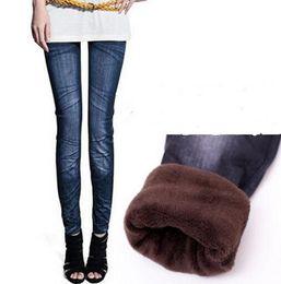 Wholesale Cheap Warm Leggings - Cheap Winter warm pants Thick leggings Imitation jeans printing thick Plush leggings free size large Elastic