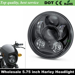 "Wholesale New Led Headlights - 2016 New Motos Accessories 5.75"" headlight motorcycle 5 3 4"" led headlight for Harley 5-3 4"" Motorcycle Black Projector Daymaker"