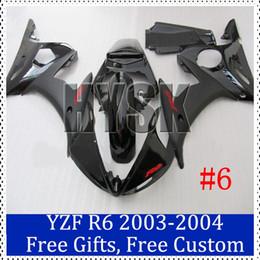 Wholesale Custom R6 Plastics - Shiny black Motorcycle fairing set for Yamaha 2003-2004 YZF R6 Black ABS plastic Cowling 03 04 YZF R6 Custom Painting Motorcycle Fairing