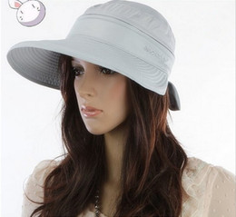 Wholesale Womens Foldable Sun Hats - Hot Sale! Fashion large brimmed sun hats Foldable womens sunhats Self-tie Bow women's hat Summer Beach Floppy Cap Headwear