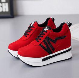 Wholesale High Heel Platform Sneakers - Wedge high heels zapatos mujer Platform Heels ladies Canvas Shoes chaussure femme women school valentine Casual sneakers Walking shoes