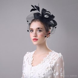 Wholesale Ivory Hats Veils - Fashion Bride Hair Bow Hat Wedding Veil Photo Portrait Flower Feather Headdress Hairpin Gauze Cover The Face