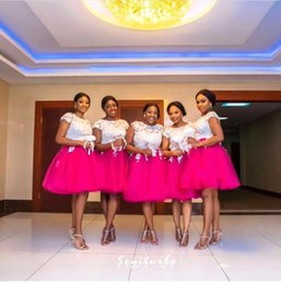 Wholesale Evening Gown Bridesmaid Knee Length - Hot Pink Tulle Short Sleeves White Lace Top Short Bridesmaid Dresses 2016 Maid Of Honor Prom Evening Gowns Wedding Guest Dresses BA3808