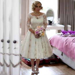 Wholesale Size 16 Informal Wedding Dress - Informal Plus Size Tea Length Wedding Dress Short Sheer Bateau Neck Illusion Sleeves Lace Appliqued Garden Bridal Gowns Custom Made