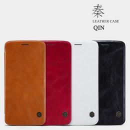 Moto x telefon ledertasche online-Original Nillkin UltraThin Qin PU Leder Flip Handyhülle für MOTO Z.G3, XT1550.X Style, XT1570.X Play.G4 Plus