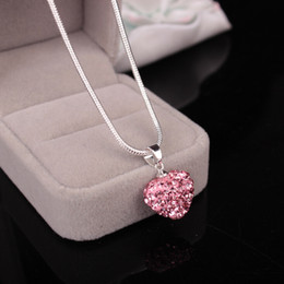 Wholesale Low Price Heart Necklaces - Lowest Price!Heart Crystal Shamballa Necklace Silver plated Jewelry Rhinestone Disco Crystal Bead Necklace women jewelry Gift(with chain)