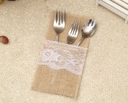 Wholesale European Style Home Decoration - European artistic style Natural jute lace Knife and fork bag Christmas wedding party home decoration