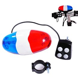 Wholesale Bicycle Bell Horn - Fashion New Bike Bicycle LED Light + 4 Loud Siren Sound Trumpet Cycling Horn Bells