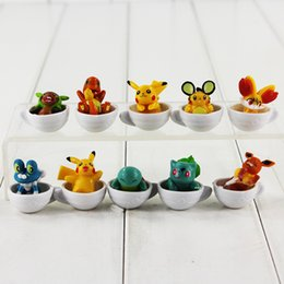 Wholesale Cute Mini Anime Figures Set - 3cm 10pcs set Anime Cute Mini Poke Pikachu Figure Squirtle Pichu Charmander with Cup Action Figure for kids gift free shipping retail