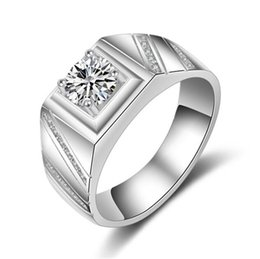 Wholesale Diamond Wedding Rings For Couples - 1.25CT White Gold plated big white stone Rings For Men CZ diamond jewelry engagement wedding women rings bijoux bague