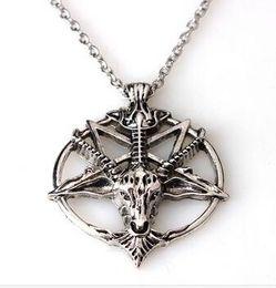 Wholesale Metal Slide Tin - Baphomet Inverted Pentagram Goat Head Pendant Necklace Baphomet LaVeyan LaVey Satanism Occult Metal Pendant