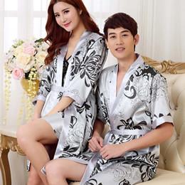 baumwoll-kimonos großhandel Rabatt Wholesale-2016 Mode Mann und Frau Nachtwäsche Liebhaber Nachtwäsche Kimono Robe Sommer Herbst Casual Cotton Bademantel