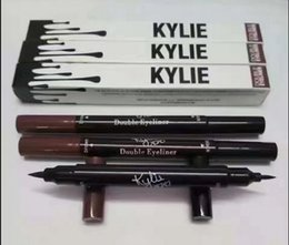 Wholesale Double Ended Eyeliners - Kylie Double-end Liquid Eyeliner Waterproof Black + brown 2 in 1 Kylie Pencil Double Eyeliner Makeup tool by Kylie Jenner Cosmetics