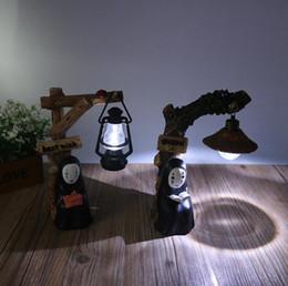 Figuras alejadas enérgicas online-Japonés Kaonashi No Face LED Night Light Figura Studio Ghibli Miyazaki Hayao Spirited Away Anime Resina Acción Figuras Navidad