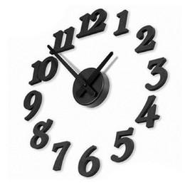 Wholesale Modern Interior Clock - 3D DIY Clock Adhesive Decal Modern Wall Digit Number Room Interior Decoration Clock Saat Wall Clock