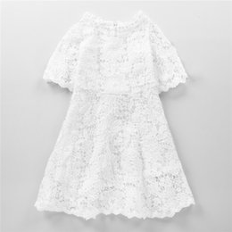 Wholesale Baby Summer Dress Tulle - INS Baby Girls Summer Dress Short Sleeve White Lace Princess Solid Birthday Party Dresses Elegant Gifts
