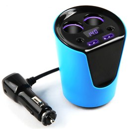 Wholesale tablet outlets - Dual usb cup car Charger and 2Cigarette Lighter Socket Dual Outlets Adapter For iPhone Samsung Note Tablets and more Smart phones (Blue)