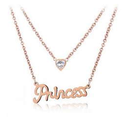 Wholesale Princess Party Plates - Lady Letter Princess Necklaces Korea Style Crystal Love Pendant 2 Layer Chains Rose Gold Plated Charm Necklace Jewelry Christmas Gift