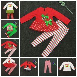Wholesale Cute Santa Girl Outfit - Baby Christmas Outfits Girls Deer Christmas Tree T-shirt+Ruffle Pants Xmas Elk Clothing Sets Kids Cartoon Snowman Santa Claus Outfits E14