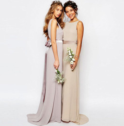 Wholesale Cheap Fast Wedding Dresses - Country Bridesmaid Dresses Chiffon Long Bridesmaid Dress Scoop Backless with Bow Long Wedding Party Dresses Cheap in Stock Fast Shipping