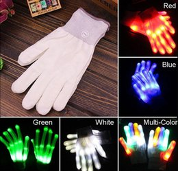 Wholesale Light Up Gloves Fingers - LED Flashing Finger Light Up Gloves Colorful Lighting for Rave Party Halloween dancing club props light up glowing gloves KKA3015