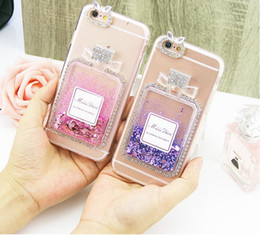 Wholesale Blue Bottles For Liquid - Moving Sands Colorful Liquid Glitter Quicksand 3D Bling of Perfume Bottles Phone Case Cover For Apple Iphone 7 7s Shining Sands Liquid Case