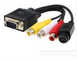 Wholesale Tv Video Signal Converter - Audio & Video Signal VGA TV Converter S-Video Cable to 3 RCA Adapter Free shipping