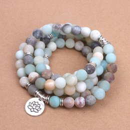 Wholesale Dropshipping Bracelet - Wholesale- Fashion Women`s bracelet Matte Frosted Amazonite beads with Lotus OM Buddha Charm Yoga Bracelet 108 mala necklace dropshipping