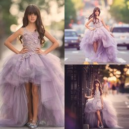 Wholesale Girls High Low Pageant Dresses - Cute Girls Lavender Pageant Dresses Jewel Neck Appliques Ruched Tulle High Low Formal Kids Wears Arabic Dubai Girls Celebrity Gowns