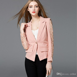 Wholesale Good Women Suit Brands - Fashion Women Autumn Long Sleeve Temperament Slim lace Stitching Small Suit Jacket Female Tops Brand New Good Quality Free Shipping