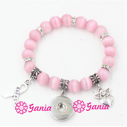 Wholesale Newest Breast Cancer Awareness Jewelry Pink Bead Bracelet with Cancer Ribbon Angel mm Snap Bracelet for Breast Cancer