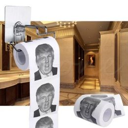 Wholesale Paper Seat - Creative Toilet Paper Novelty Donald Trump Toilet Paper Roll Fashion Funny Humour Gag Gifts CCA8250 100pcs