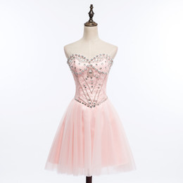Wholesale Homecoming Beads - Sweetheart Lace Tulle Ball Gown Homecoming Dress With Beads Crystal 2018 Short Party Dress Lovely Lace Up Prom Gowns