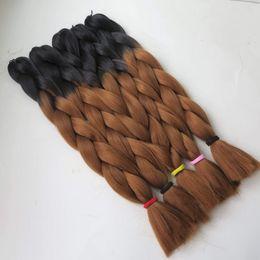 "Wholesale Xpression Braiding Hair Wholesale - Ombre Two Tone Xpression Kanekalon Jumbo Braiding Synthetic Hair For Box Crochet Braids Twist 24"" 100g Black&Auburn Brown"