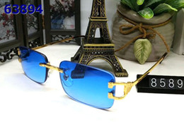 Wholesale Famous Plastic Glasses - Rimless sunglasses man and women unisex vintage with box Famous Lady UV400 buffalo horn glasses blue brown red pink gold silver metal frame