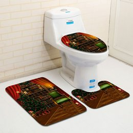 Wholesale Cheap Bathroom Rugs - 8Styles Cheap Merry Christmas Decoration Santa Claus Elk Toilet Seat Cover Rug Hotel Bathroom Set Best Xmas Decorations Christmas Gifts
