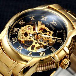 Wholesale Antique Skeleton Clocks - Winner Gold Antique Watch Automatic Skeleton Mechanical Wristwatch Male Wrist watch Men Man Hour Clock relogio masculino