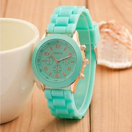 Wholesale Colorful Time Quartz - Colorful Geneva Watch Rubber Belt Candy Jelly Wristwatch Unisex Silicone Quartz Watches for Women Men Boys Girls Gifts WA0329