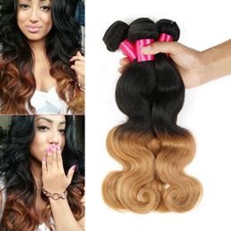 Wholesale Honey Blonde Hair Weave - 1b 27 Two Tone Ombre Hair Weaves Body Wave Hair Extensions 100% Brazilian Virgin Human Hair Honey Blonde Ombre Brazilian Body Wave