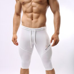 Wholesale White Tights For Men - Wholesale-B2221 Sportswear Fitness For Men Running Tights Shorts Trunks Bodybuilding Short Brave Person