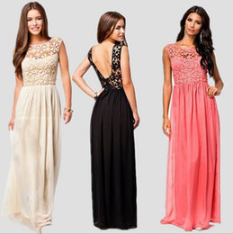 Wholesale Low Back Club Dress - European Sexy new women's White crew neck Lace bodice Dress Low Back floor length Chiffon Dress 3colors night out club dress