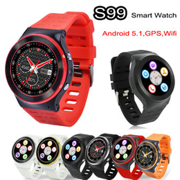 Wholesale Handsfree Camera - ZGPAX S99 Android 5.1 Smart Watch Phone 3G WCDMA Quad Core 8GB 1.3GHz Heart Rate 3.0M HD Camera GPS Wifi FM Bluetooth Smartwatch Handsfree