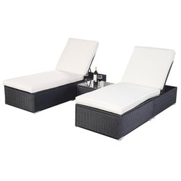 Wholesale Outdoor Patio Rattan Wicker pc Chaise Lounge Chair with Table Black balcony chaise longue Outdoor rattan wicker lying bed Beach chair bed
