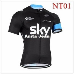Wholesale Shorts Size Cycling Sky - 2015 Newest Tour De France Cycling Jerseys SKY black color Short Sleeve High Elastic Road Bicycle Wear size XS-4XL