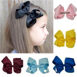 Wholesale Grosgrain Ribbon Boutique - 32 Colors 6 inch Plain Colored Grosgrain Ribbon Boutique Hair Bows with Alligator Clips 32PCS lot