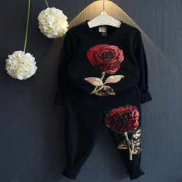Wholesale Kids Embroidered T Shirts - New Spring Autumn Girls Tracksuits Children Rose Flower Embroidered Casual Sets Kids Sportswear Fashion Girl T-shirt+Pants 2pcs Suits